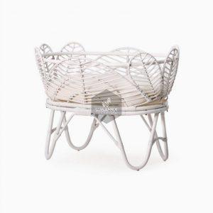 Nada Rattan Baby Crib White