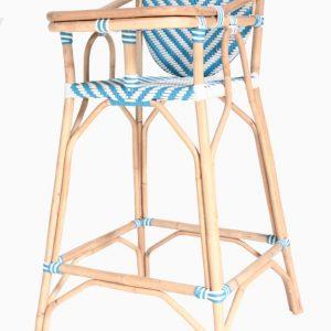 Blue Rattan Baby High Chair